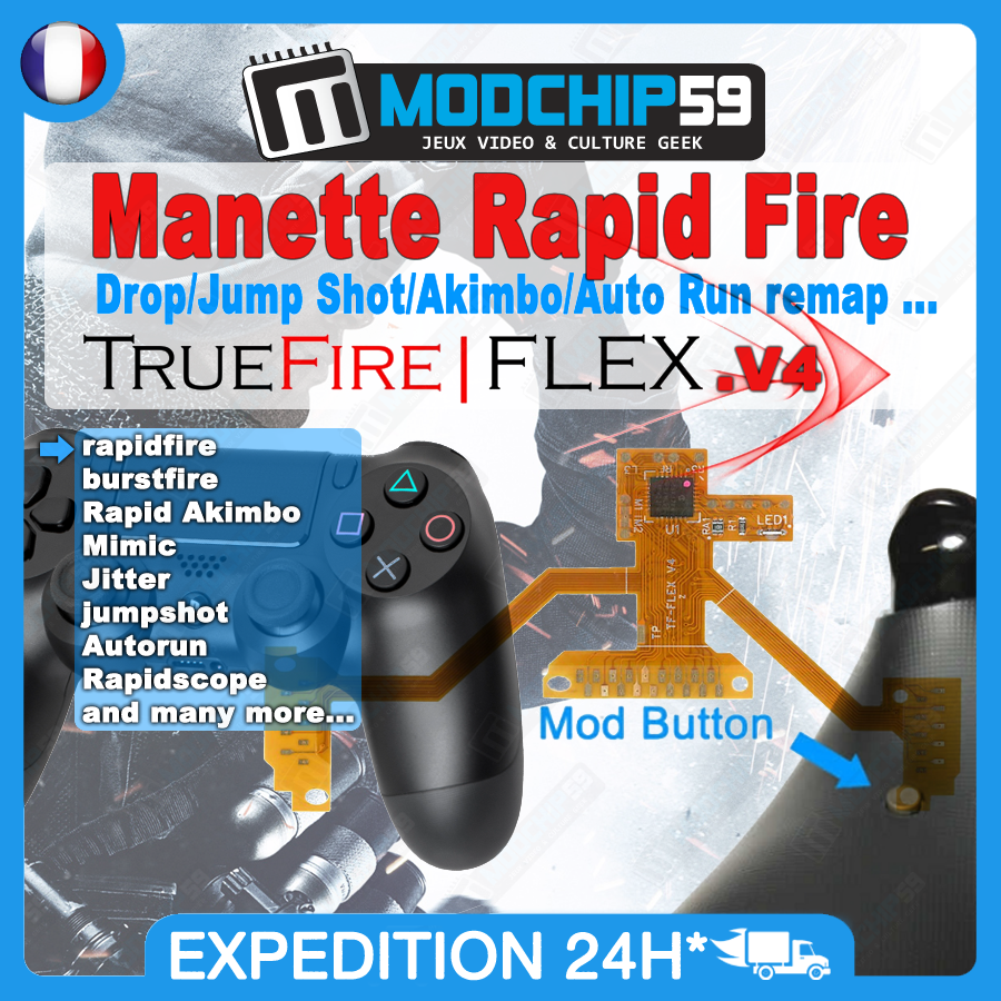 manette ps4 rapid fire truefire flex v4 1 modchip59 la. Black Bedroom Furniture Sets. Home Design Ideas