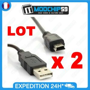 LOT 2 x Mini CABLE USB MINI-B
