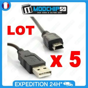 LOT 5 x Mini CABLE USB MINI-B