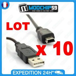 LOT 10 x Mini CABLE USB MINI-B